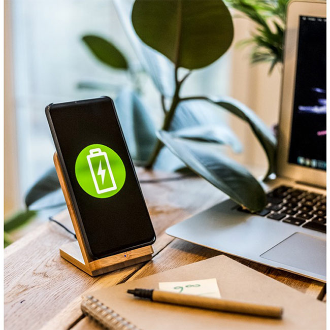 B'RIGHT bamboo wireless charger 10W, phone stand,,W4V0349,Phone Accessories