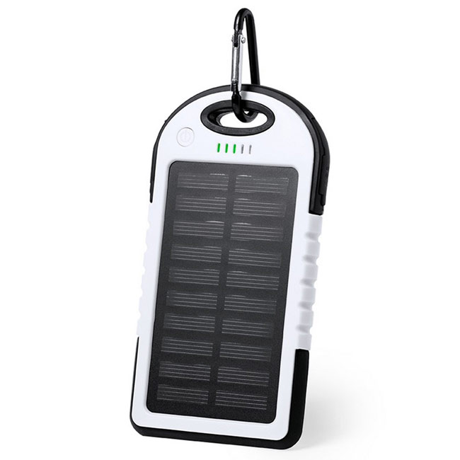 Waterproof power bank 4000 mAh, solar charger,White,W4V0354,Power Banks