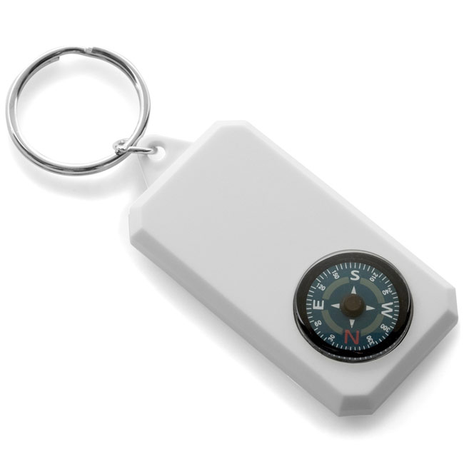 Keyring with compass,White,W4V2451,Keyrings & Keyfobs