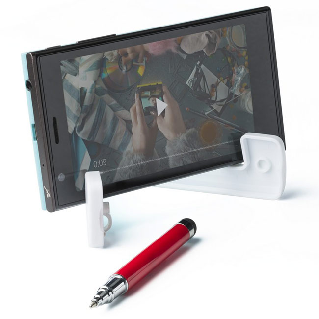 Phone stand with ball pen and touch pen,Red,W4V2872,Phone Accessories