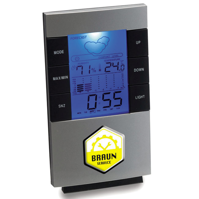 Weather station with clock,Silver,W4V3069,Clocks & Weather