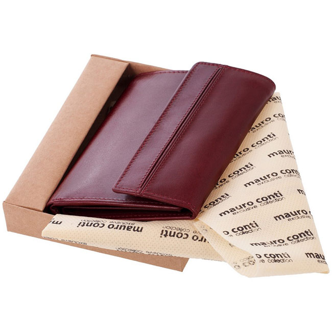 Mauro Conti leather wallet for women,Red,W4V4808,Wallets