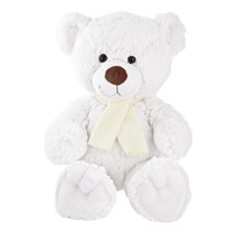 Promotional Monty White bear in scarf