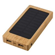 Promotional Bamboo power bank 8000 mAh, solar charger
