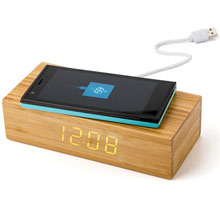 Promotional Bamboo wireless charger 5W, clock