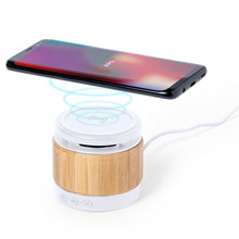 Promotional Bamboo wireless speaker 3W, wireless charger 5W