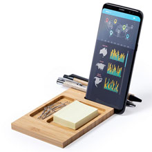 Promotional Bamboo desk organizer, phone stand