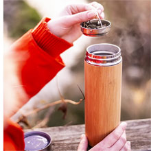 Bamboo thermo mug 400 ml with sieve stopping dregs