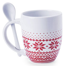 Promotional Christmas pattern Mug with spoon