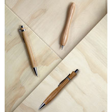 Promotional Bamboo ball pen with silver trim