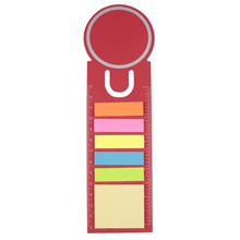 Bookmark with sticky notes and ruler,Red,W4V2542,Notebooks