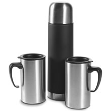 promotional Thermos 0.5 l with 2 mugs 0.26 l,W4V4635,colour: Neutral,Mugs - China & Plastic,Water4Fish,promotional products