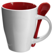 Coffee mug 260 ml with spoon holder,W4V5269,colour: Red,Orange,Yellow,Light Green,Blue,Mugs - China & Plastic,Water4Fish